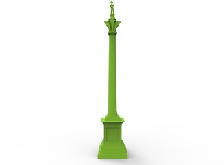 3d illustration of green nelson's column. white background isolated. icon for game web.