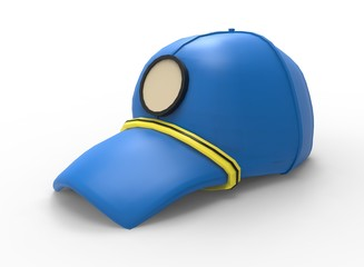 3d illustration of cartoon cap. white background isolated. icon for game web.