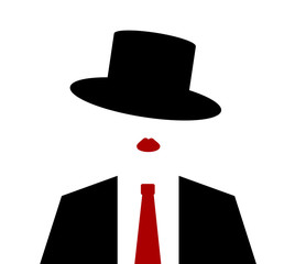 woman wearing suit and tie with top hat