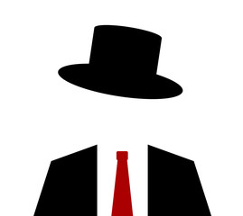 person wearing top hat with suit and tie