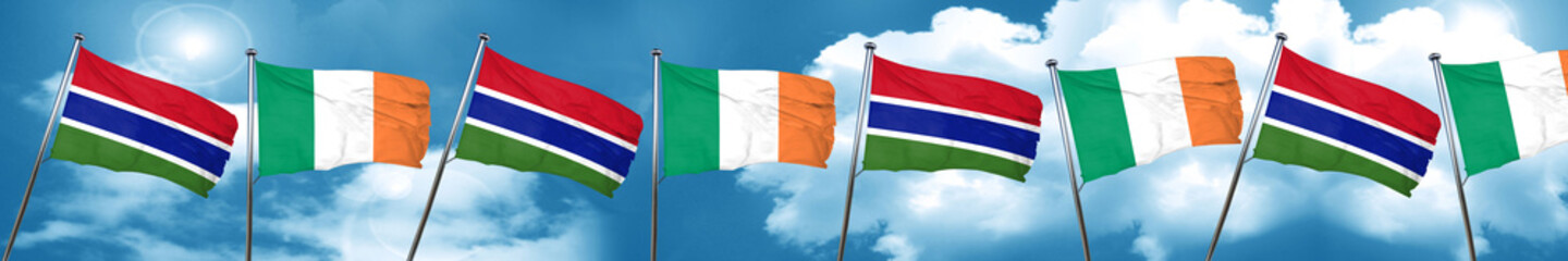 Gambia flag with Ireland flag, 3D rendering