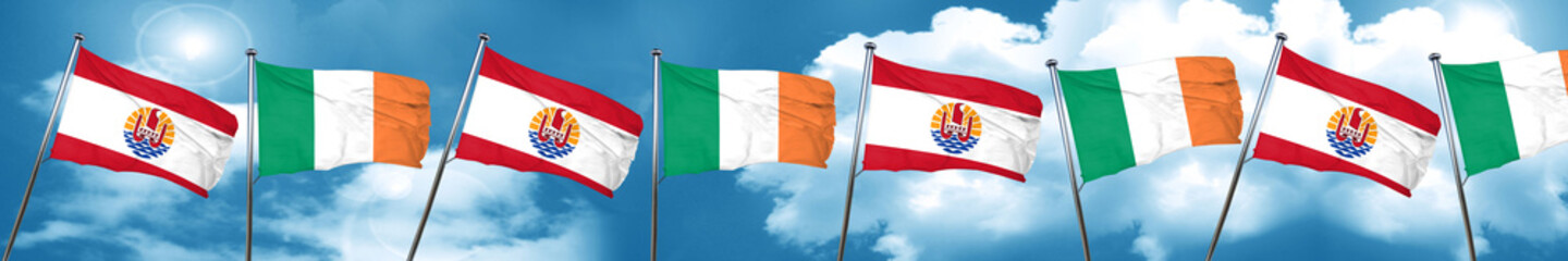french polynesia flag with Ireland flag, 3D rendering