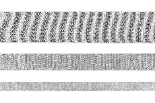 Set of straight shiny silver ribbon isolated on white background, design element