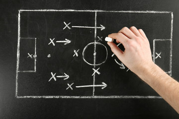 Male hand drawing scheme of football game on blackboard background