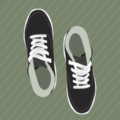 pair of stylish sneakers for running on green background, vector, illustration,