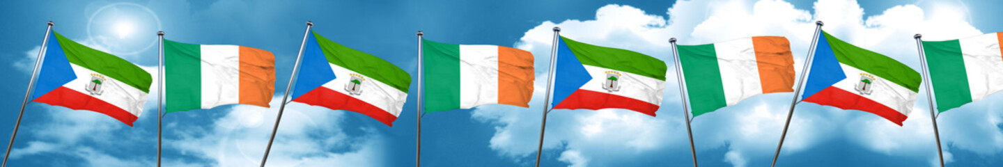 Equatorial guinea flag with Ireland flag, 3D rendering