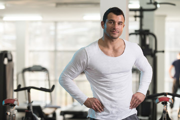 Portrait of Muscle Man in White T-shirt