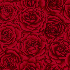 beautiful vintage seamless pattern with red roses.