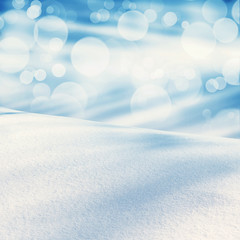 Winter christmas landscape with falling snow, winter abstract background