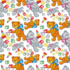 Seamless pattern with hearts and teddy bears. Vector clip art.