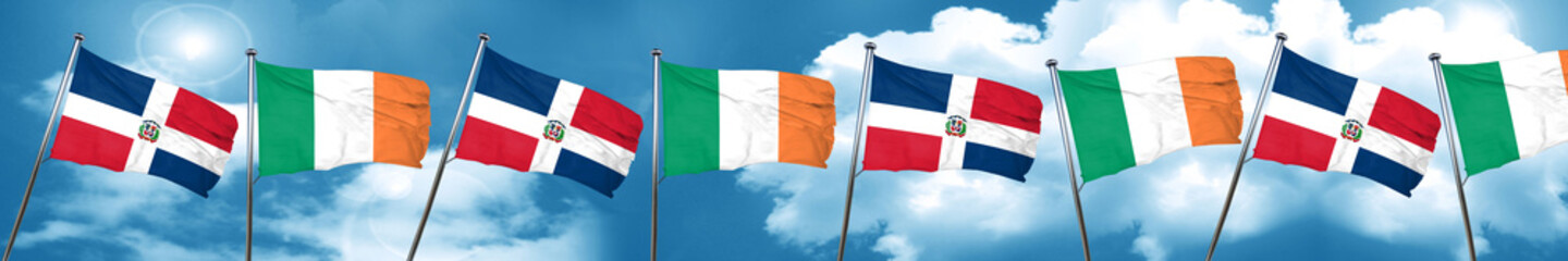 dominican republic flag with Ireland flag, 3D rendering