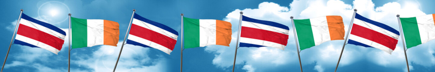 Costa Rica flag with Ireland flag, 3D rendering