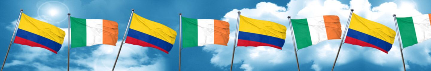 Colombia flag with Ireland flag, 3D rendering