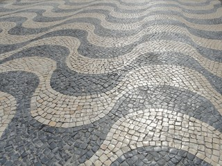 Stunning Wave Pattern Cobbles in Lisbon, Portugal