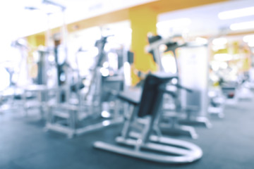 Blurred view of gym interior with equipment