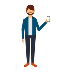 young man with smartphone avatar character vector illustration design