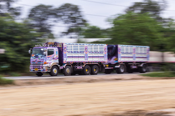 truck panning camera in road
