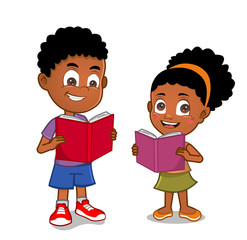 African American kids reading