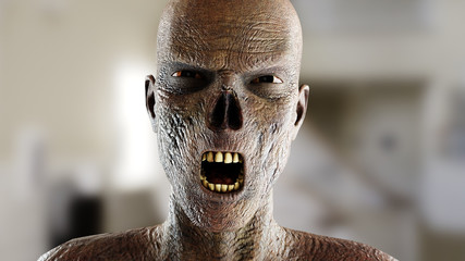 Zombie screaming. Close up. 3d rendering.