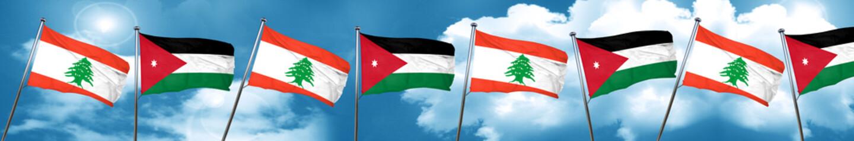 Lebanon flag with Jordan flag, 3D rendering