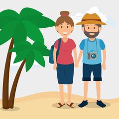 people tourists avatars characters vector illustration design