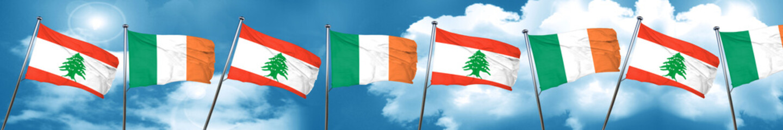 Lebanon flag with Ireland flag, 3D rendering