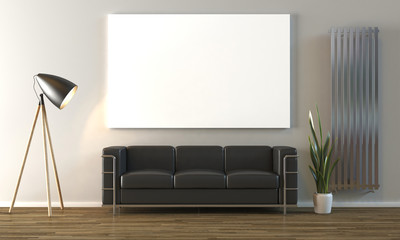 Empty canvas on wall mock up