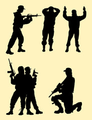 Beautiful female soldier gesture silhouette. Good use for symbol, logo, web icon, mascot, sign, or any design you want.