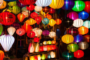 Traditional colourful Asian lanterns