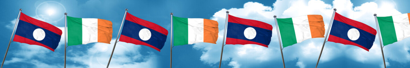 Laos flag with Ireland flag, 3D rendering