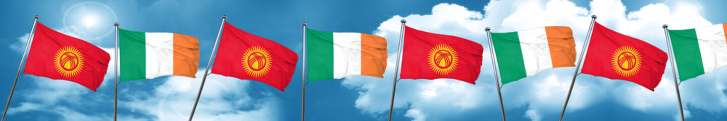 Kyrgyzstan flag with Ireland flag, 3D rendering