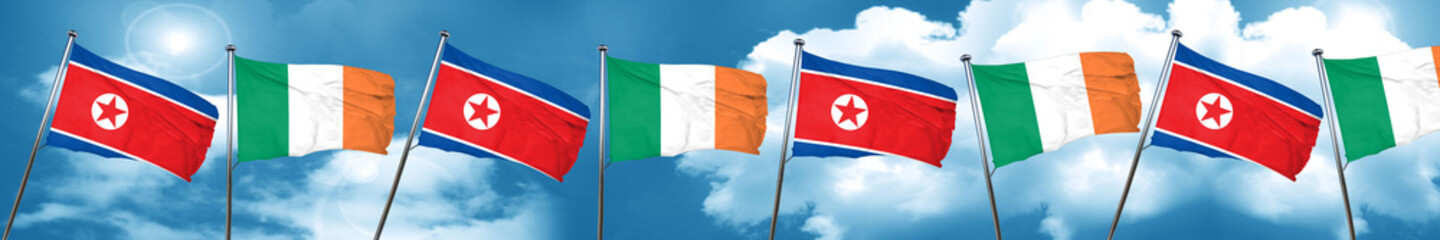 North Korea flag with Ireland flag, 3D rendering