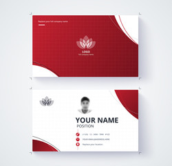 Red business card template with sample logo design. vector card.