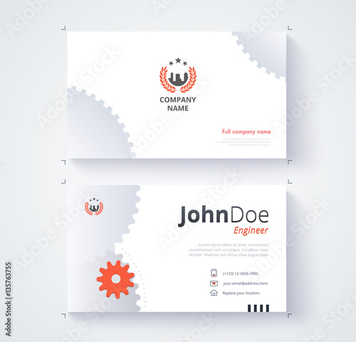 Engineer business card template gear background stock image and engineer business card template gear background reheart Image collections