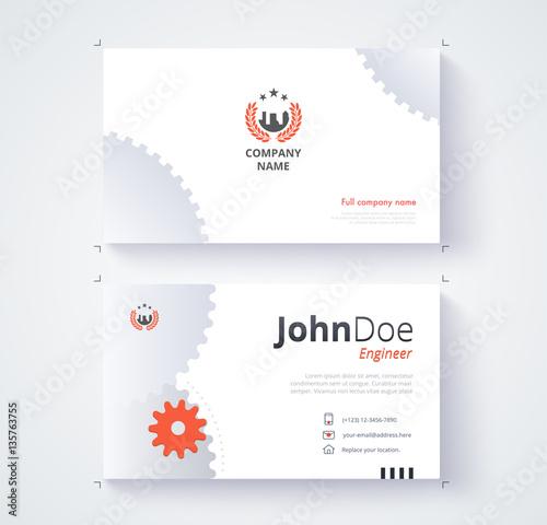 Engineer business card template gear background stock image and engineer business card template gear background reheart Images