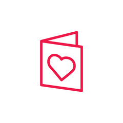 book thin line red icon on white background, happy valentine day
