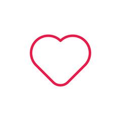 heart thin line red icon on white background, happy valentine da