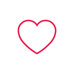 heart thin line red icon on white background, happy valentine da