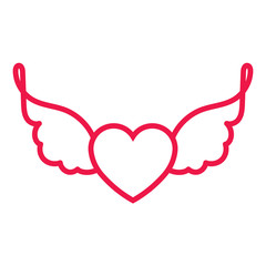 heart with wings thin line red icon on white background, happy v