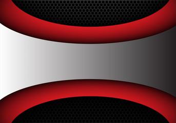 Metal gray red shape curve and black circle mesh design modern background vector illustration.