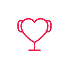 Heart award cup thin line red icon on white background, happy va