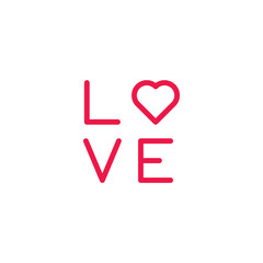 love text thin line red icon on white background, happy valentin