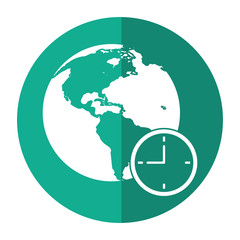 global world clock business concept shadow vector illustration eps 10