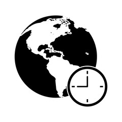 global world clock business concept pictogram vector illustration eps 10