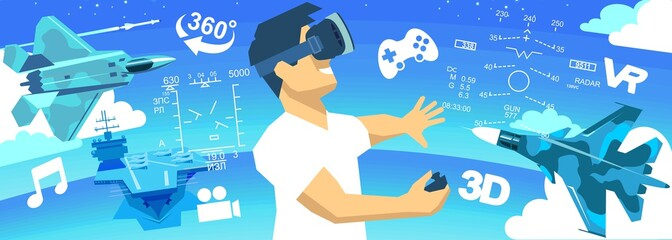 man in a VR glasses 3d virtual reality icons