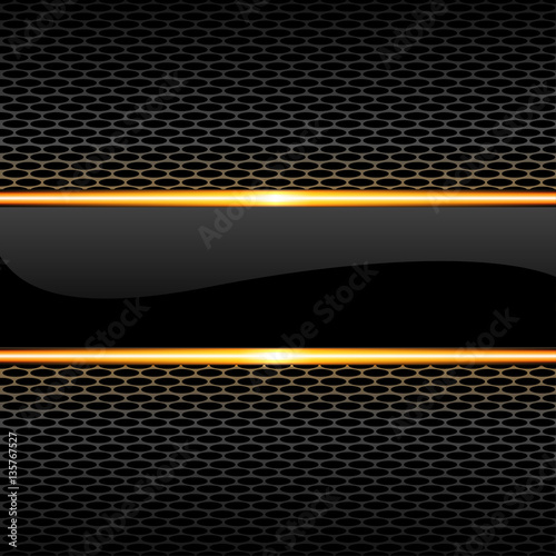 quotabstract black glossy banner gold line on honeycomb mesh