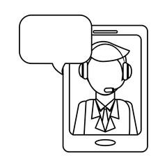 man headphone smartphone bubble icon, vector illustration