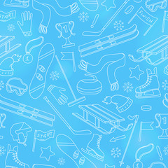 Seamless pattern on the theme of winter sports, simple contour icons on ball background,white outline on blue background