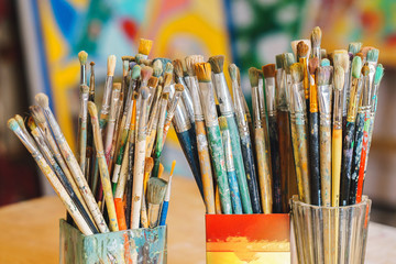Paint Brushes isolated in blur background, close-up