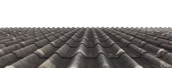 Texture of fiber cement roof sheet, Pattern of weathered the dirty roof, Corrugated wave asbestos tile background